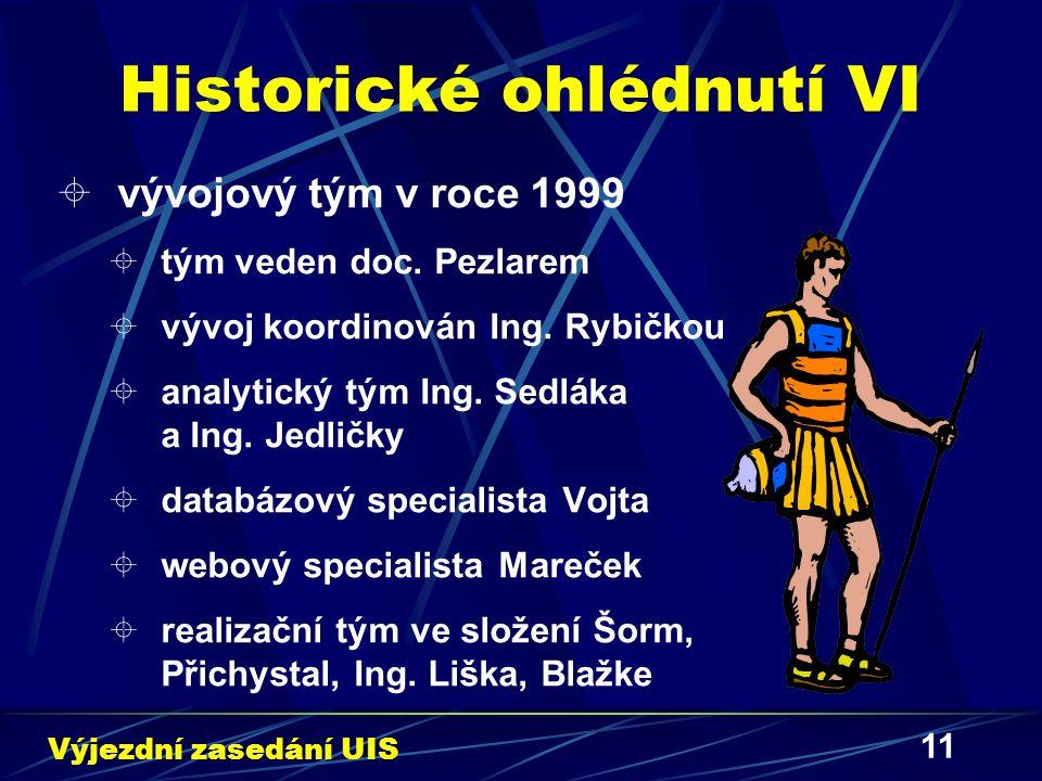 11 Historické ohlédnutí VI  vývojový tým v roce 1999  tým veden doc. Pezlarem  vývoj koordinován Ing. Rybičkou  analytický tým Ing. Sedláka a Ing.