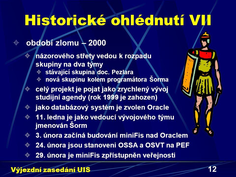 12 Historické ohlédnutí VII  období zlomu – 2000  názorového střety vedou k rozpadu skupiny na dva týmy  stávající skupina doc. Pezlara  nová skup