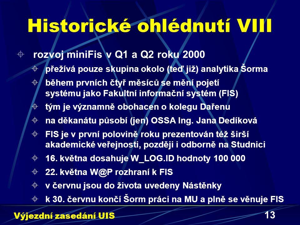13 Historické ohlédnutí VIII  rozvoj miniFis v Q1 a Q2 roku 2000  přežívá pouze skupina okolo (teď již) analytika Šorma  během prvních čtyř měsíců