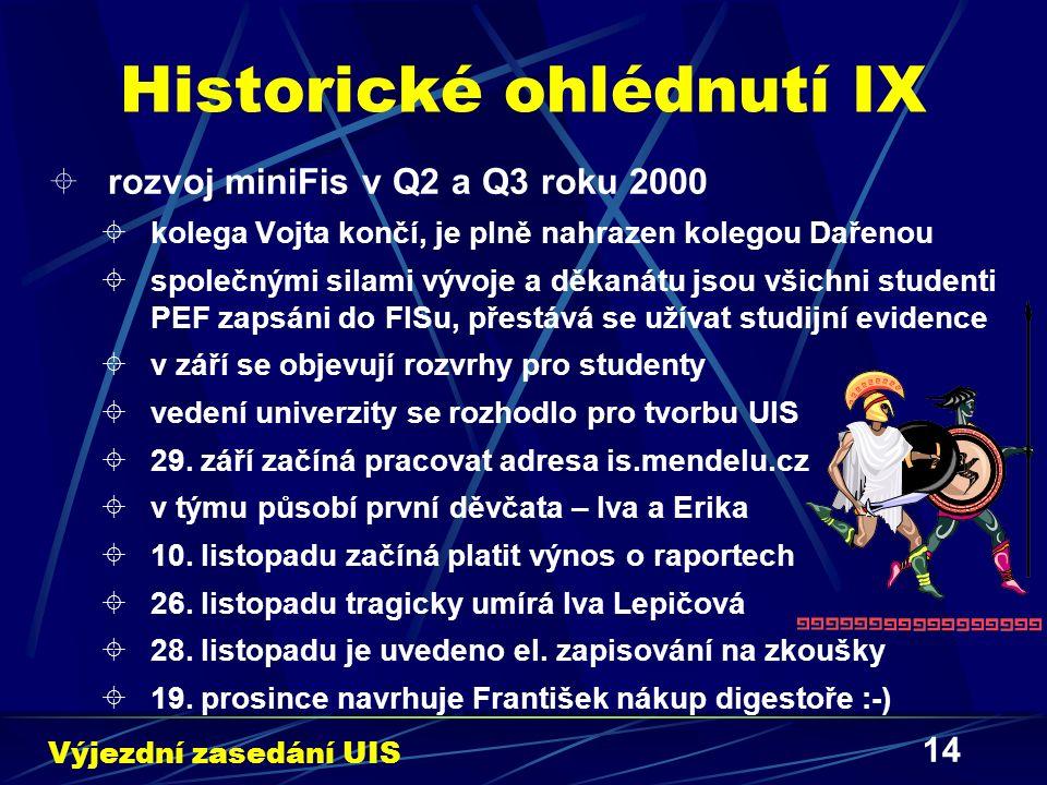 14 Historické ohlédnutí IX  rozvoj miniFis v Q2 a Q3 roku 2000  kolega Vojta končí, je plně nahrazen kolegou Dařenou  společnými silami vývoje a dě