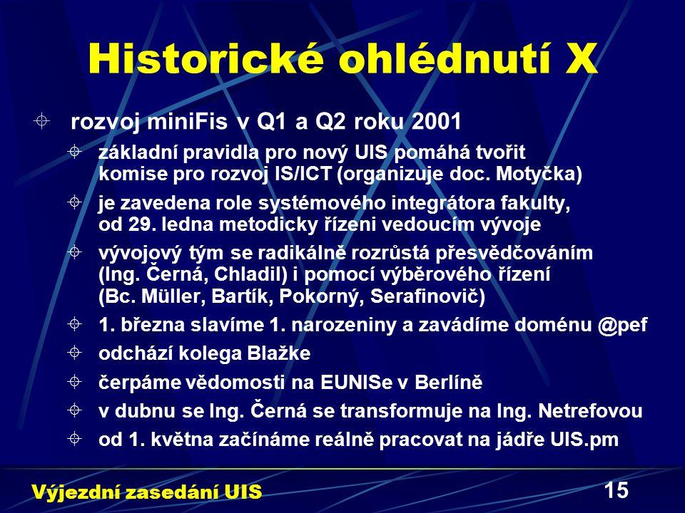 15 Historické ohlédnutí X  rozvoj miniFis v Q1 a Q2 roku 2001  základní pravidla pro nový UIS pomáhá tvořit komise pro rozvoj IS/ICT (organizuje doc.