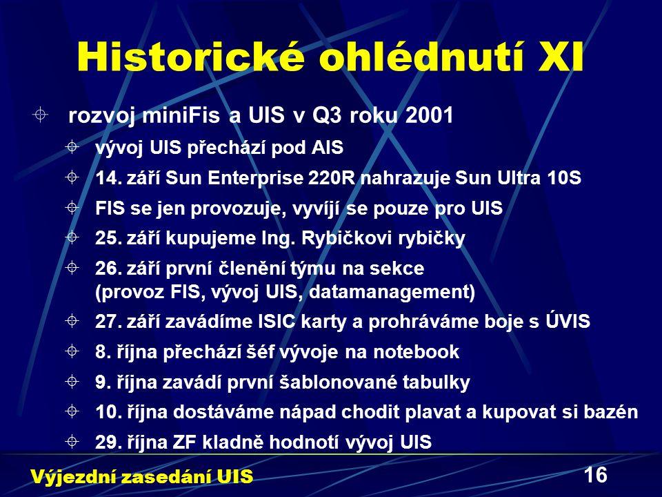 16 Historické ohlédnutí XI  rozvoj miniFis a UIS v Q3 roku 2001  vývoj UIS přechází pod AIS  14. září Sun Enterprise 220R nahrazuje Sun Ultra 10S 