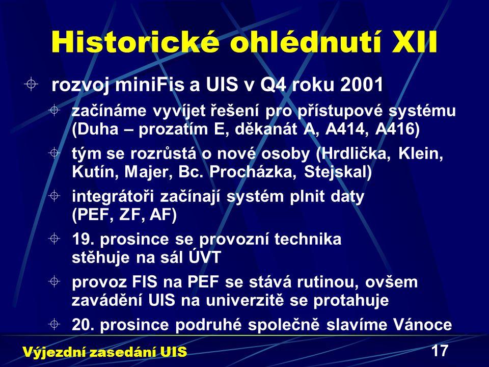17 Historické ohlédnutí XII  rozvoj miniFis a UIS v Q4 roku 2001  začínáme vyvíjet řešení pro přístupové systému (Duha – prozatím E, děkanát A, A414, A416)  tým se rozrůstá o nové osoby (Hrdlička, Klein, Kutín, Majer, Bc.