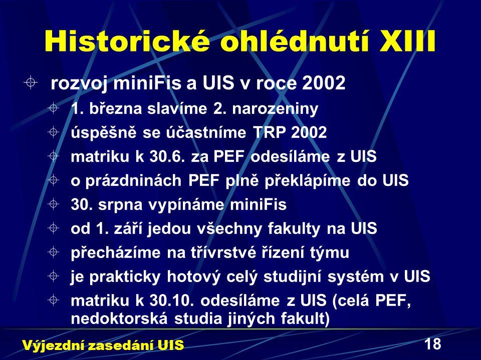 18 Historické ohlédnutí XIII  rozvoj miniFis a UIS v roce 2002  1. března slavíme 2. narozeniny  úspěšně se účastníme TRP 2002  matriku k 30.6. za