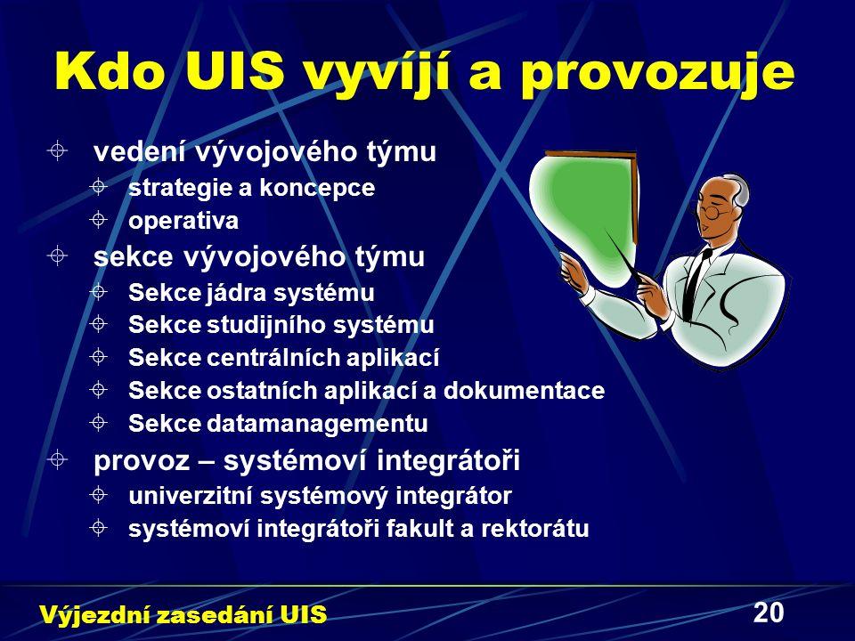 20 Kdo UIS vyvíjí a provozuje  vedení vývojového týmu  strategie a koncepce  operativa  sekce vývojového týmu  Sekce jádra systému  Sekce studij