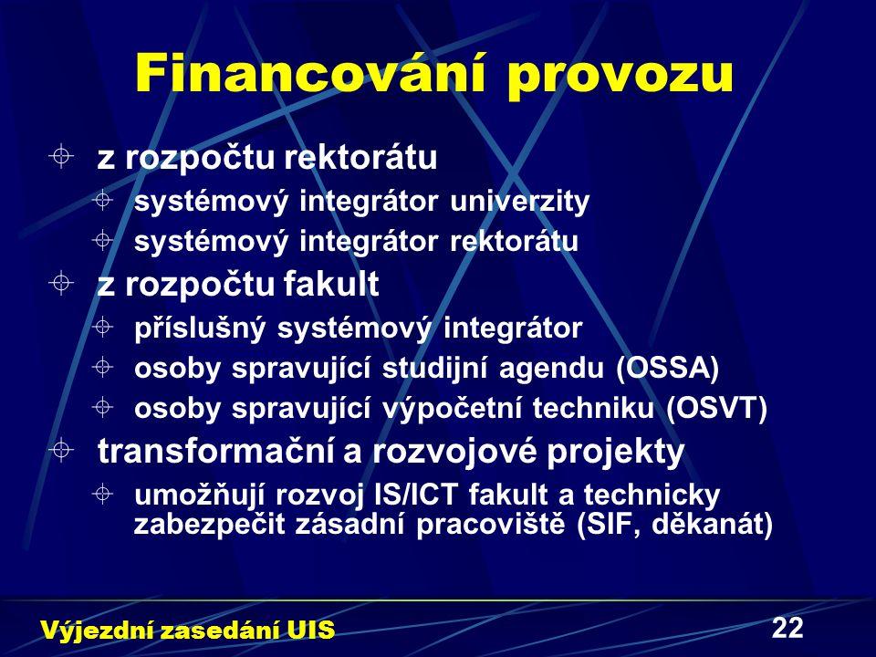 22 Financování provozu  z rozpočtu rektorátu  systémový integrátor univerzity  systémový integrátor rektorátu  z rozpočtu fakult  příslušný systémový integrátor  osoby spravující studijní agendu (OSSA)  osoby spravující výpočetní techniku (OSVT)  transformační a rozvojové projekty  umožňují rozvoj IS/ICT fakult a technicky zabezpečit zásadní pracoviště (SIF, děkanát) Výjezdní zasedání UIS