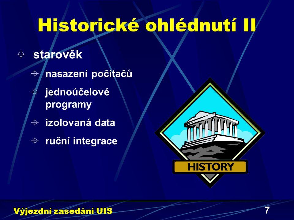 7 Historické ohlédnutí II  starověk  nasazení počítačů  jednoúčelové programy  izolovaná data  ruční integrace Výjezdní zasedání UIS