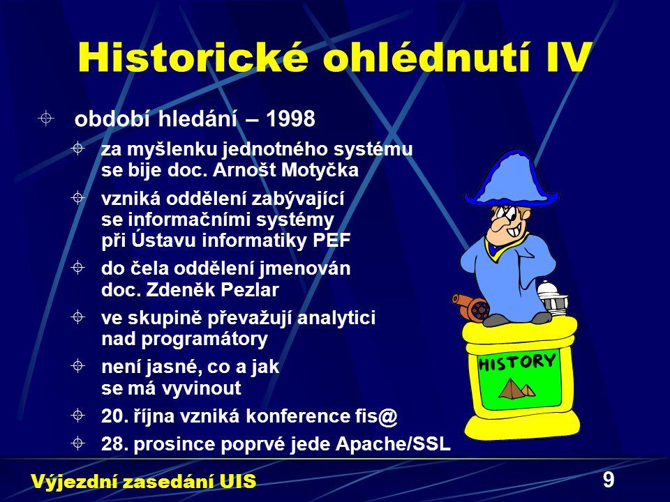 9 Historické ohlédnutí IV  období hledání – 1998  za myšlenku jednotného systému se bije doc. Arnošt Motyčka  vzniká oddělení zabývající se informa
