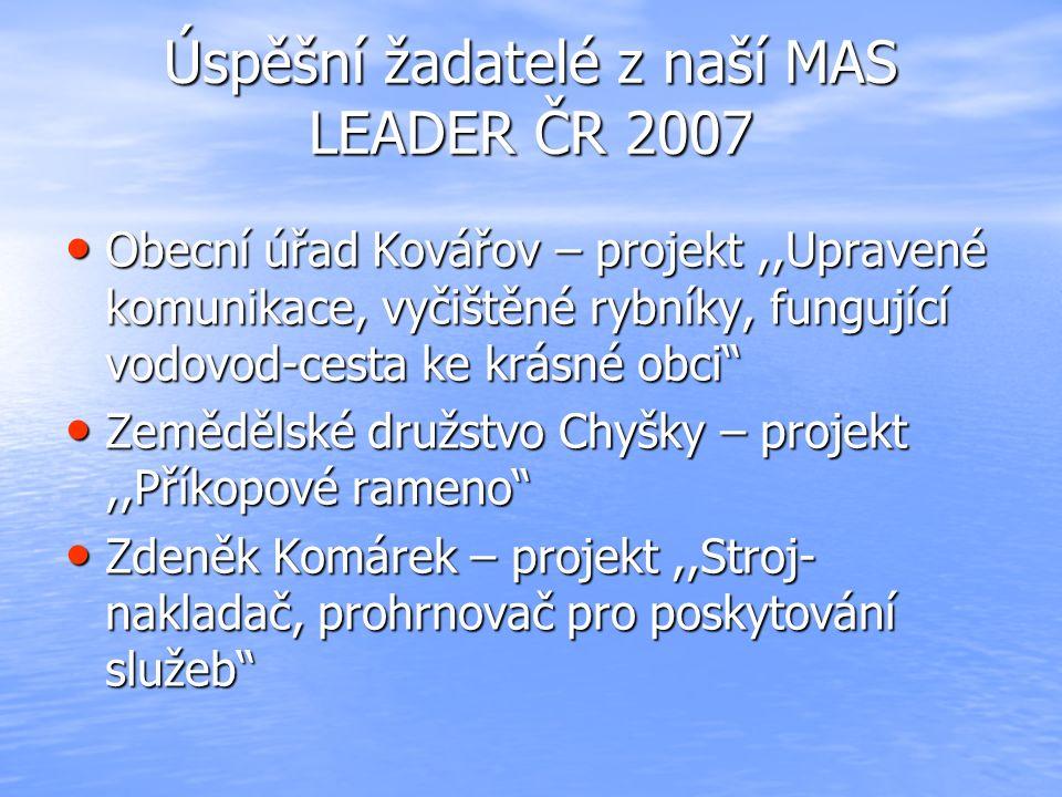 Úspěšní žadatelé z naší MAS LEADER ČR 2007 Obecní úřad Kovářov – projekt,,Upravené komunikace, vyčištěné rybníky, fungující vodovod-cesta ke krásné ob