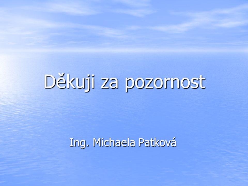 Děkuji za pozornost Ing. Michaela Patková