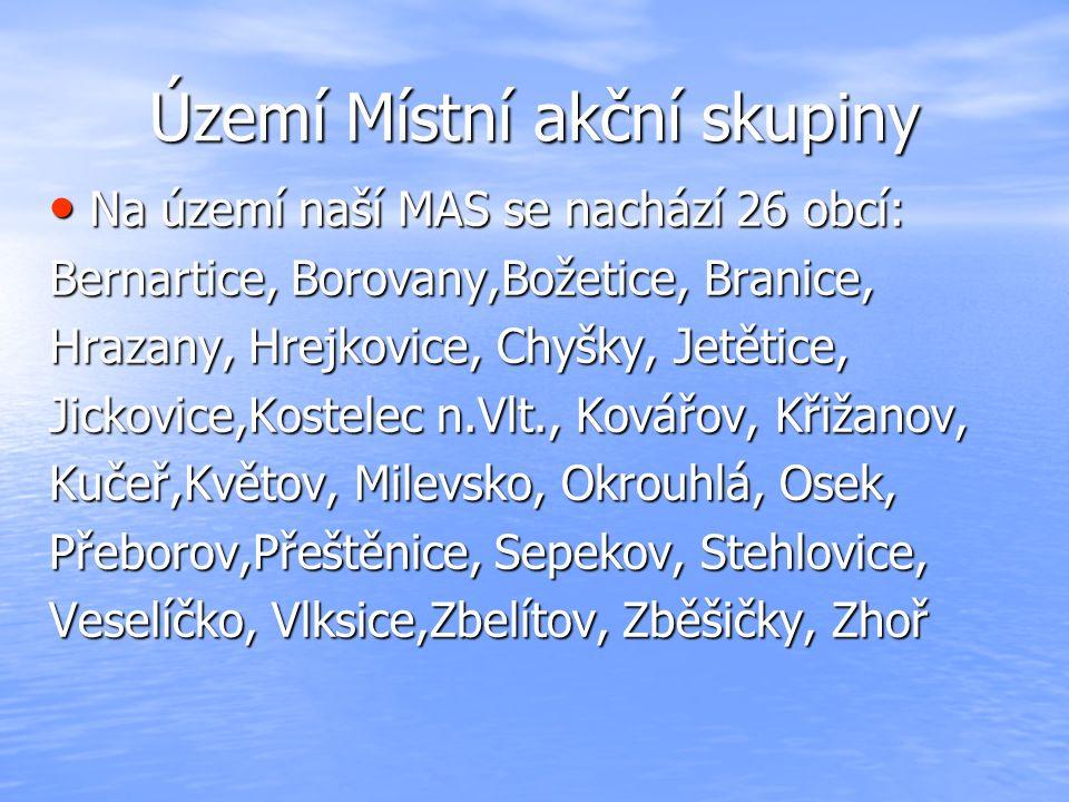 Území Místní akční skupiny Na území naší MAS se nachází 26 obcí: Na území naší MAS se nachází 26 obcí: Bernartice, Borovany,Božetice, Branice, Hrazany