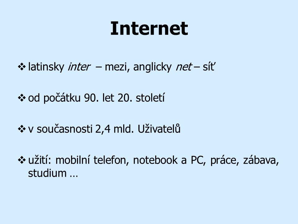 Internet  latinsky inter – mezi, anglicky net – síť  od počátku 90.