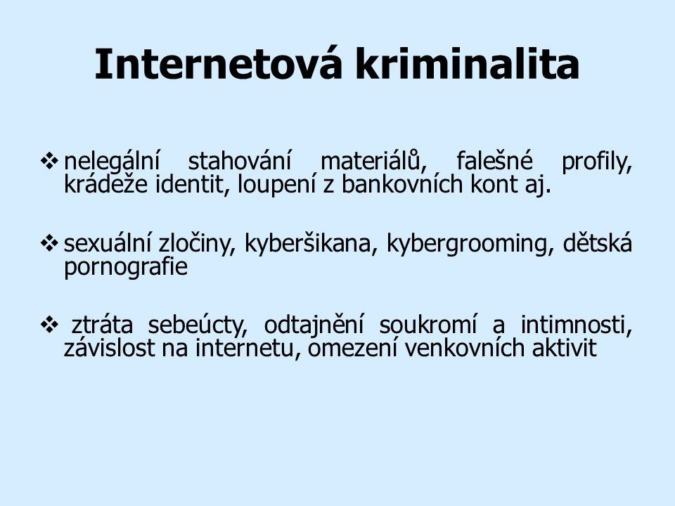 Internetová kriminalita  nelegální stahování materiálů, falešné profily, krádeže identit, loupení z bankovních kont aj.