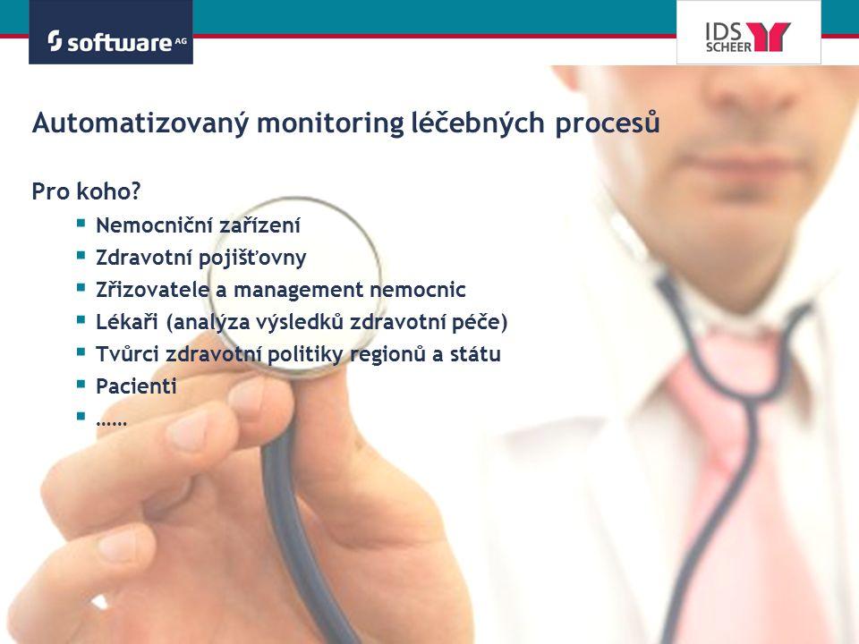 Automatizovaný monitoring léčebných procesů Pro koho?  Nemocniční zařízení  Zdravotní pojišťovny  Zřizovatele a management nemocnic  Lékaři (analý