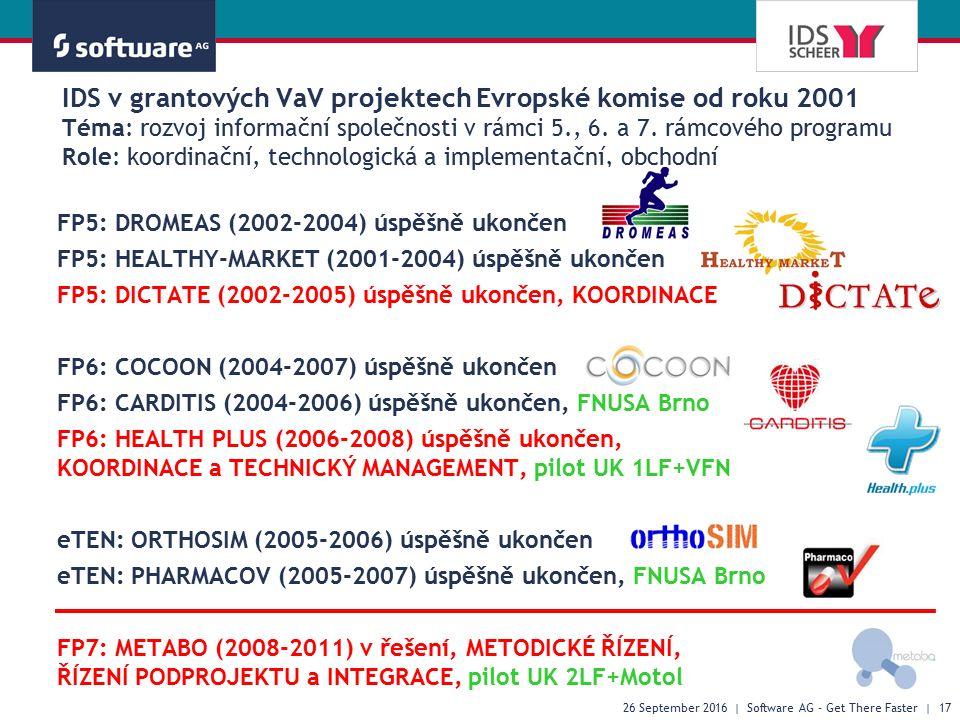 IDS v grantových VaV projektech Evropské komise od roku 2001 Téma: rozvoj informační společnosti v rámci 5., 6. a 7. rámcového programu Role: koordina