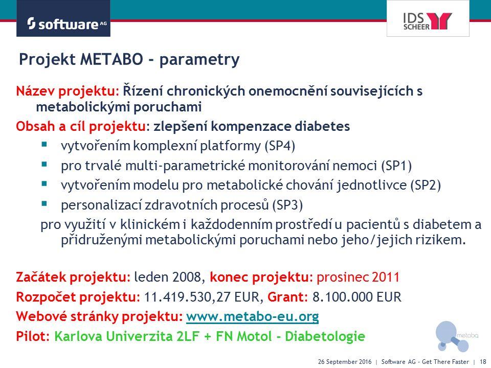 Projekt METABO - parametry Název projektu: Řízení chronických onemocnění souvisejících s metabolickými poruchami Obsah a cíl projektu: zlepšení kompenzace diabetes  vytvořením komplexní platformy (SP4)  pro trvalé multi-parametrické monitorování nemoci (SP1)  vytvořením modelu pro metabolické chování jednotlivce (SP2)  personalizací zdravotních procesů (SP3) pro využití v klinickém i každodenním prostředí u pacientů s diabetem a přidruženými metabolickými poruchami nebo jeho/jejich rizikem.