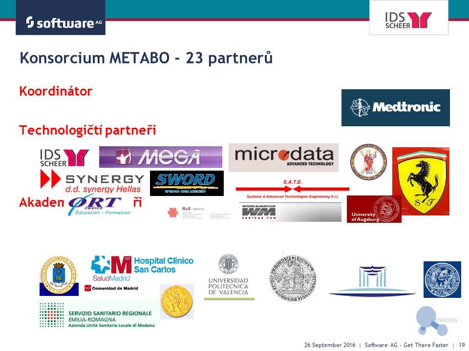 Konsorcium METABO - 23 partnerů Koordinátor Technologičtí partneři Akademičtí partneři 26 September 2016 | Software AG - Get There Faster | 19