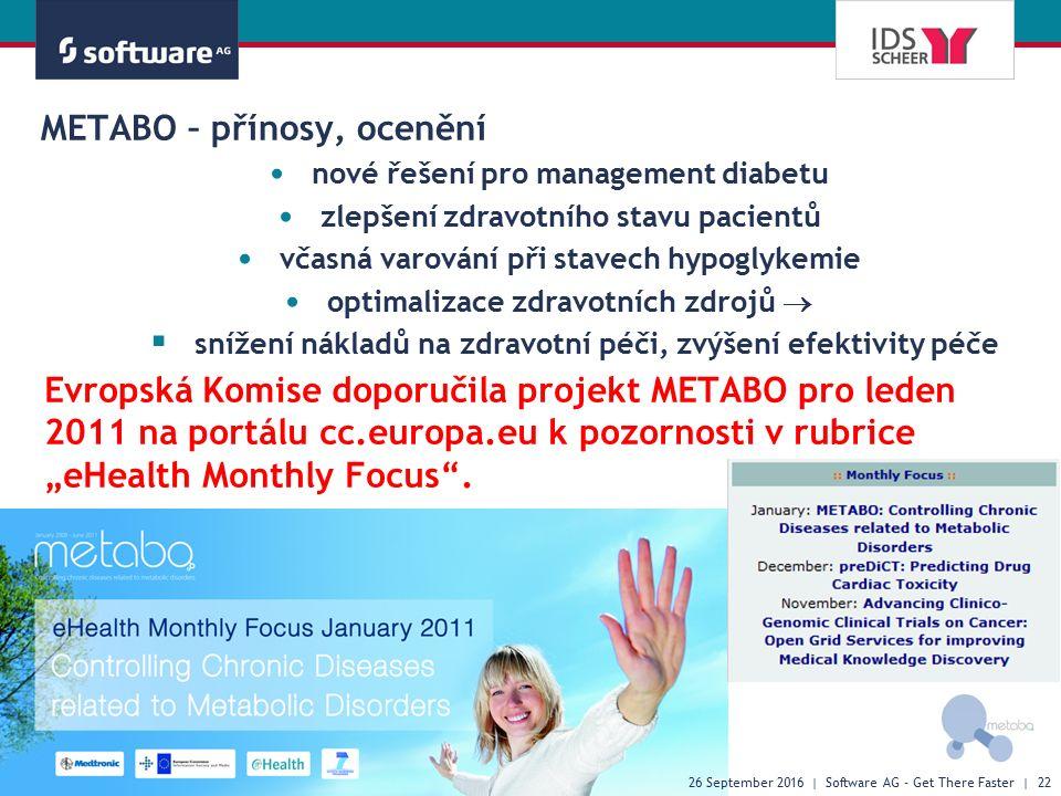 """METABO – přínosy, ocenění Evropská Komise doporučila projekt METABO pro leden 2011 na portálu cc.europa.eu k pozornosti v rubrice """"eHealth Monthly Focus ."""