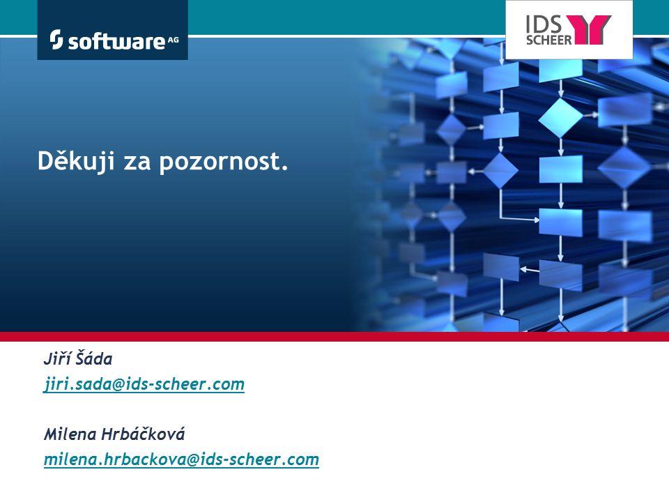 Děkuji za pozornost. Jiří Šáda jiri.sada@ids-scheer.com Milena Hrbáčková milena.hrbackova@ids-scheer.com