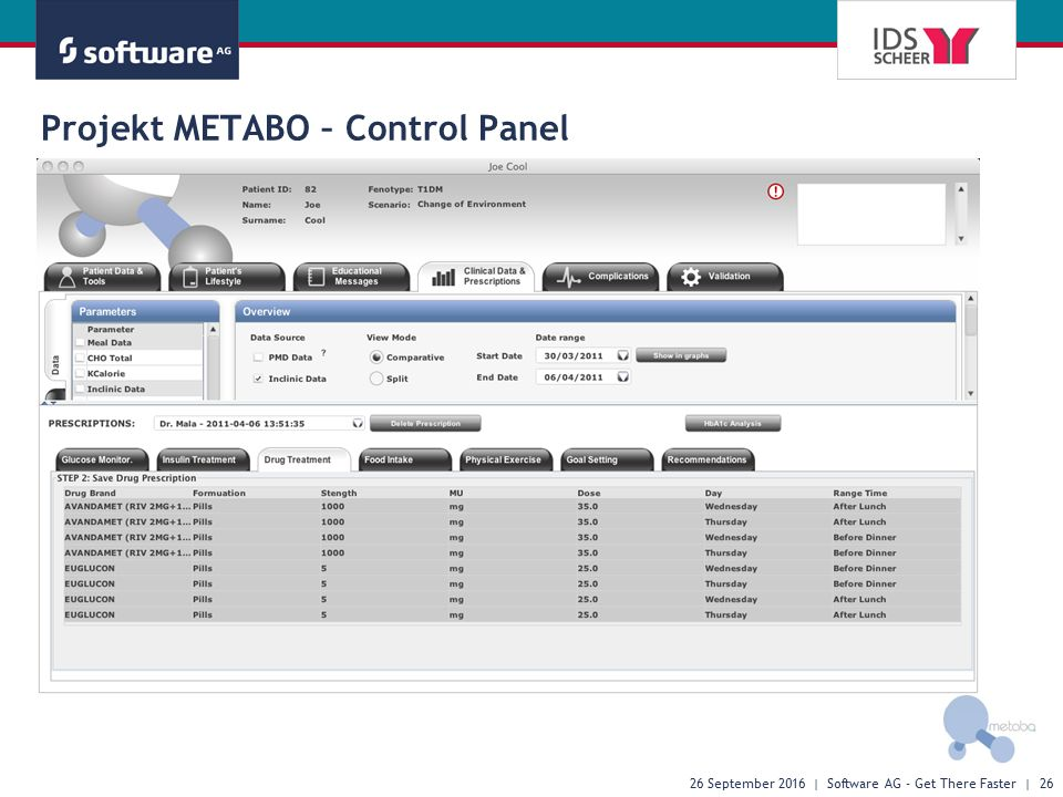 26 September 2016 | Software AG - Get There Faster | 26 Projekt METABO – Control Panel