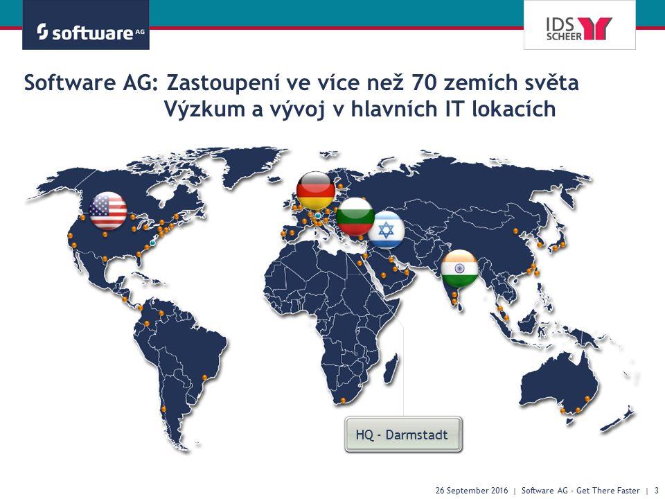 Software AG: Zastoupení ve více než 70 zemích světa Výzkum a vývoj v hlavních IT lokacích 26 September 2016 | Software AG - Get There Faster | 3 HQ - Darmstadt