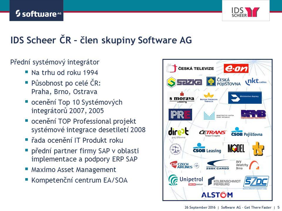 26 September 2016 | Software AG - Get There Faster | 5 IDS Scheer ČR – člen skupiny Software AG Přední systémový integrátor  Na trhu od roku 1994  P