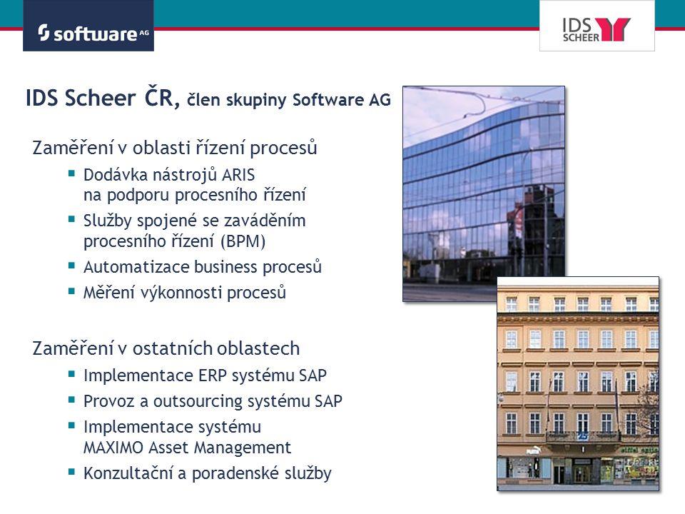 IDS Scheer ČR, člen skupiny Software AG Zaměření v oblasti řízení procesů  Dodávka nástrojů ARIS na podporu procesního řízení  Služby spojené se zav