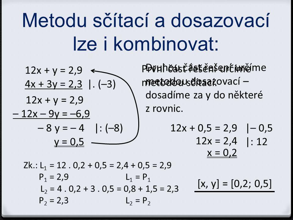 Další soustavy k řešení 0 4x – 5y = 3 2x + y = 33 0 x – 3y = 4 9x – 7y = 14 0 8x + 5y = 5 x – 3y = – 1,55 Řešení: [x, y] = [12, 9] [x, y] = [0,7; –1,1] [x, y] = [0,25; 0,6]