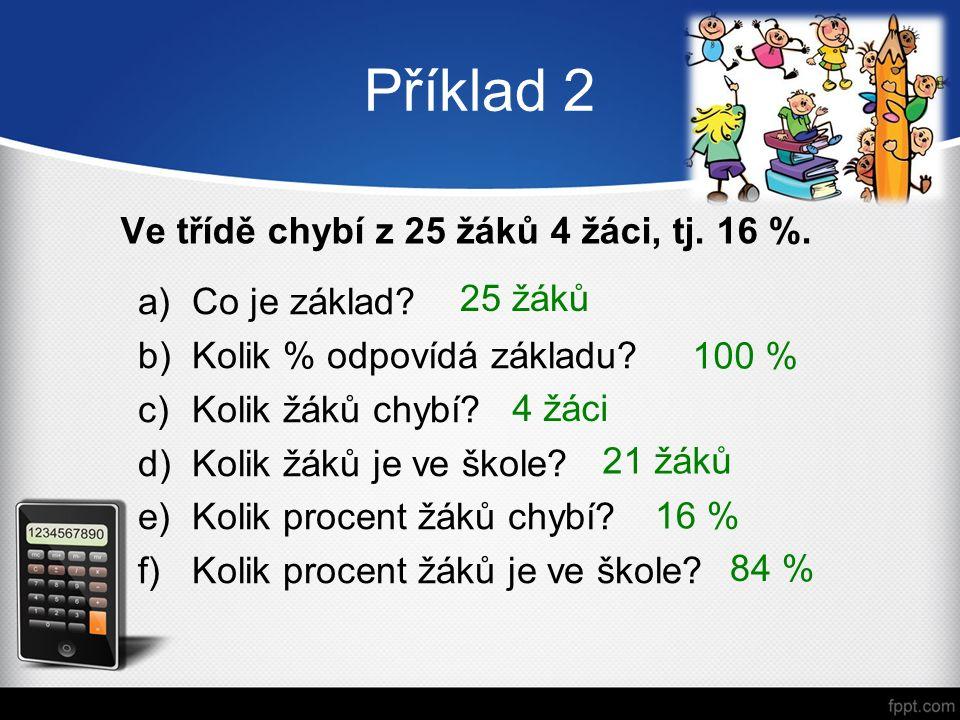 a)Co je základ. b)Kolik % odpovídá základu. c)Kolik žáků chybí.