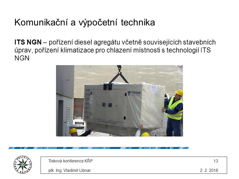Komunikační a výpočetní technika ITS NGN – pořízení diesel agregátu včetně souvisejících stavebních úprav, pořízení klimatizace pro chlazení místnosti s technologií ITS NGN 2.