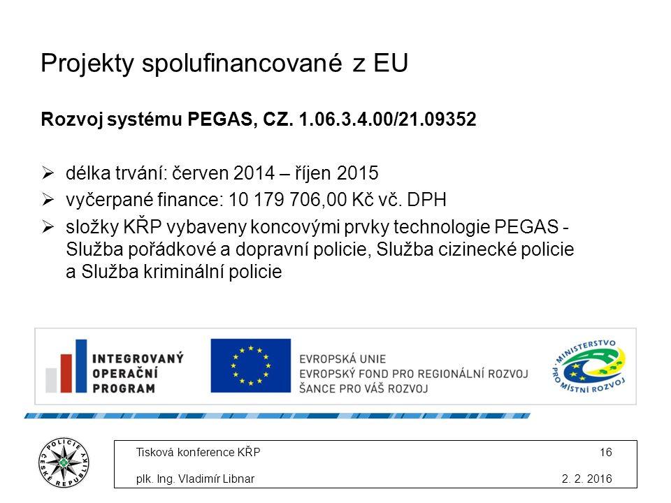 Projekty spolufinancované z EU Rozvoj systému PEGAS, CZ.