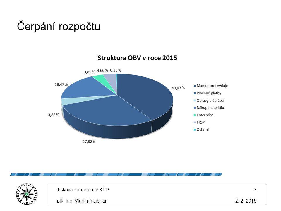 Čerpání rozpočtu 2. 2. 2016 Tisková konference KŘP plk. Ing. Vladimír Libnar 3