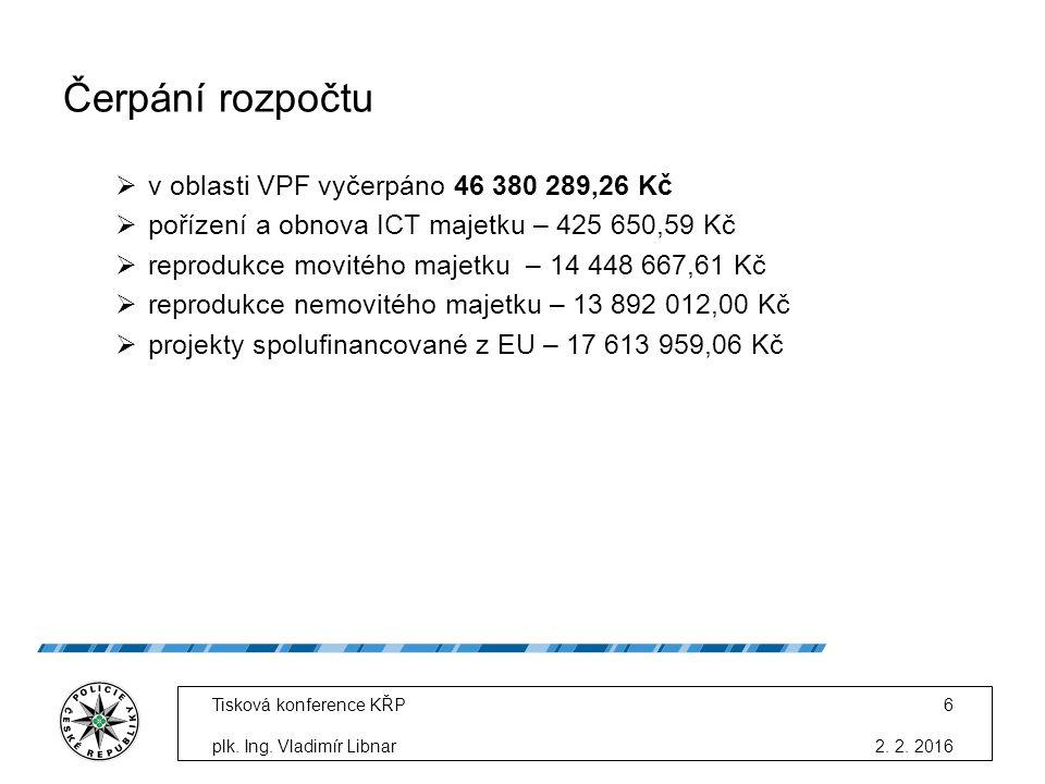 Čerpání rozpočtu  v oblasti VPF vyčerpáno 46 380 289,26 Kč  pořízení a obnova ICT majetku – 425 650,59 Kč  reprodukce movitého majetku – 14 448 667,61 Kč  reprodukce nemovitého majetku – 13 892 012,00 Kč  projekty spolufinancované z EU – 17 613 959,06 Kč 2.