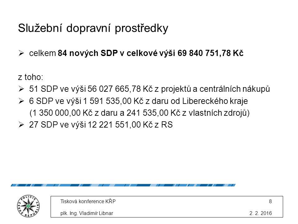 Služební dopravní prostředky  celkem 84 nových SDP v celkové výši 69 840 751,78 Kč z toho:  51 SDP ve výši 56 027 665,78 Kč z projektů a centrálních nákupů  6 SDP ve výši 1 591 535,00 Kč z daru od Libereckého kraje (1 350 000,00 Kč z daru a 241 535,00 Kč z vlastních zdrojů)  27 SDP ve výši 12 221 551,00 Kč z RS 2.