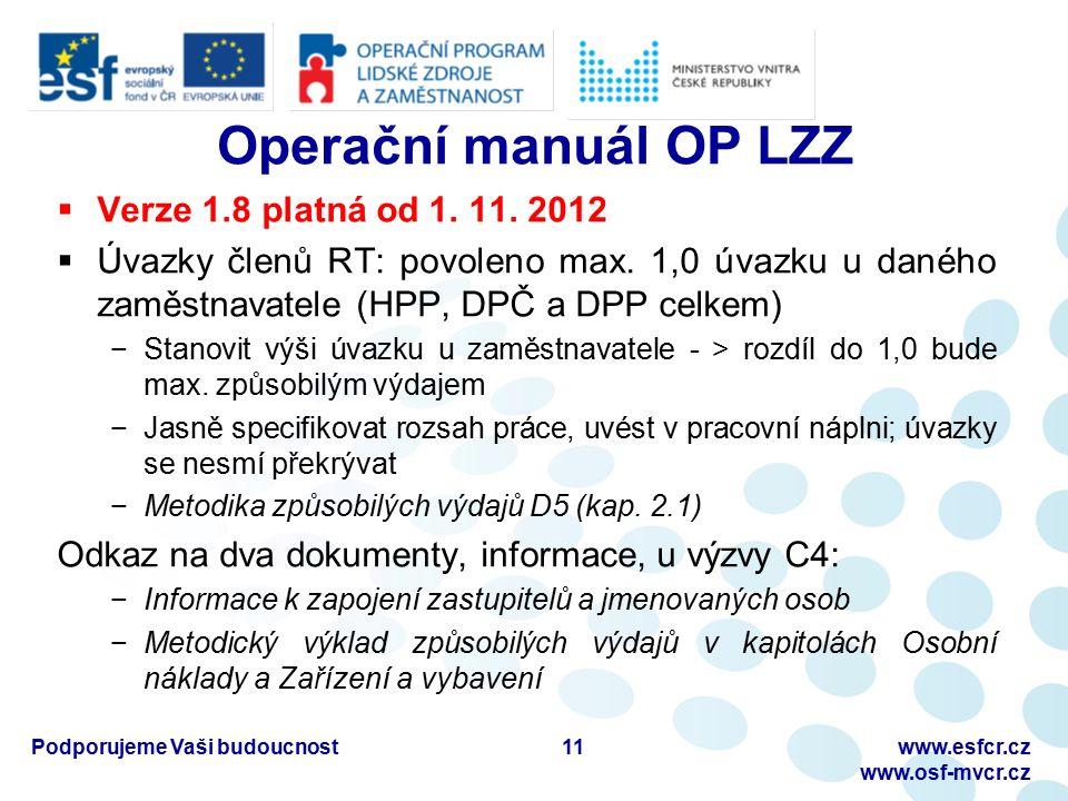 Podporujeme Vaši budoucnostwww.esfcr.cz www.osf-mvcr.cz Operační manuál OP LZZ  Verze 1.8 platná od 1.