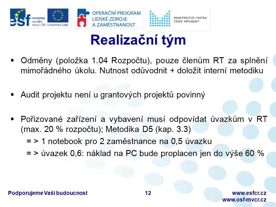 Podporujeme Vaši budoucnostwww.esfcr.cz www.osf-mvcr.cz Realizační tým  Odměny (položka 1.04 Rozpočtu), pouze členům RT za splnění mimořádného úkolu.