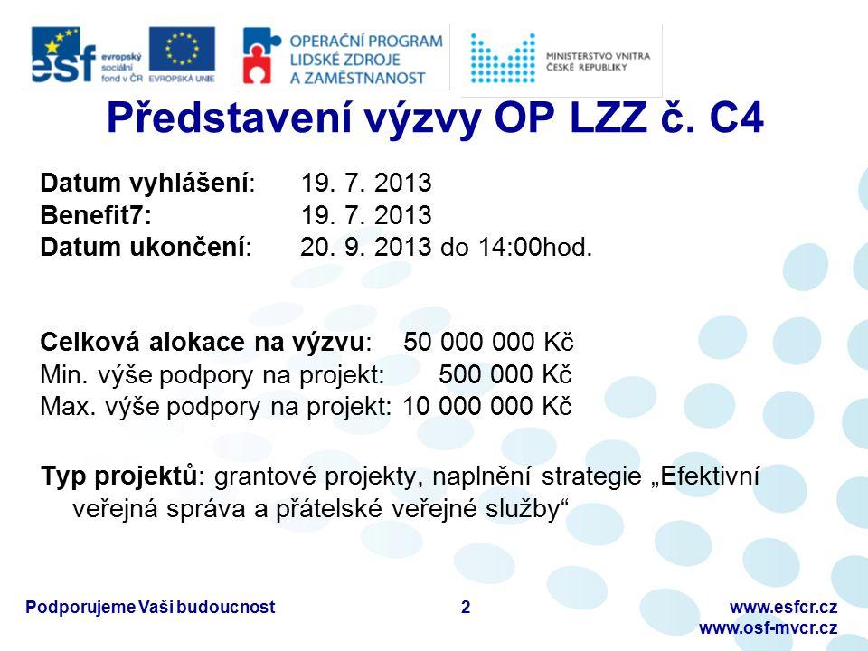 Podporujeme Vaši budoucnostwww.esfcr.cz www.osf-mvcr.cz Představení výzvy OP LZZ č.