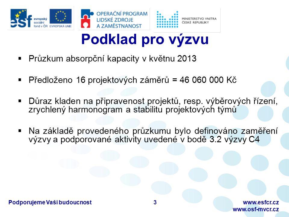 Podporujeme Vaši budoucnostwww.esfcr.cz www.osf-mvcr.cz Podklad pro výzvu  Průzkum absorpční kapacity v květnu 2013  Předloženo 16 projektových záměrů = 46 060 000 Kč  Důraz kladen na připravenost projektů, resp.
