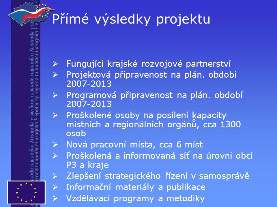 Přímé výsledky projektu  Fungující krajské rozvojové partnerství  Projektová připravenost na plán.