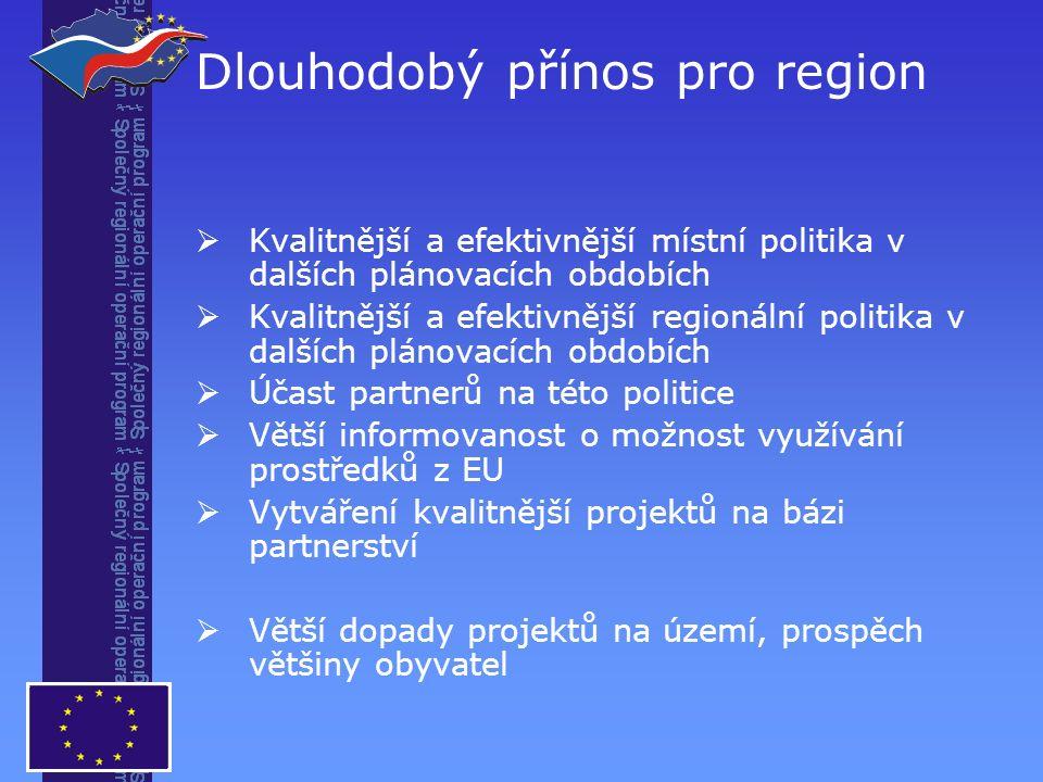 Dlouhodobý přínos pro region  Kvalitnější a efektivnější místní politika v dalších plánovacích obdobích  Kvalitnější a efektivnější regionální politika v dalších plánovacích obdobích  Účast partnerů na této politice  Větší informovanost o možnost využívání prostředků z EU  Vytváření kvalitnější projektů na bázi partnerství  Větší dopady projektů na území, prospěch většiny obyvatel