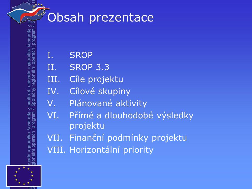 I.SROP II.SROP 3.3 III.Cíle projektu IV.Cílové skupiny V.Plánované aktivity VI.Přímé a dlouhodobé výsledky projektu VII.Finanční podmínky projektu VIII.Horizontální priority Obsah prezentace