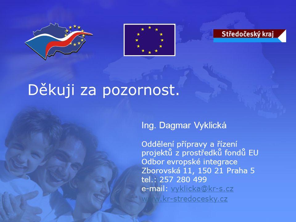 Děkuji za pozornost. Ing. Dagmar Vyklická Oddělení přípravy a řízení projektů z prostředků fondů EU Odbor evropské integrace Zborovská 11, 150 21 Prah