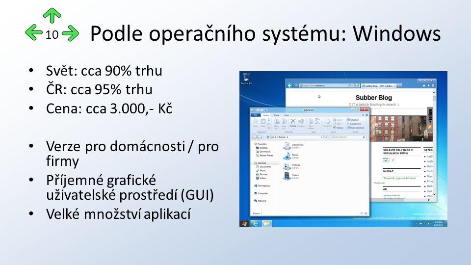 Podle operačního systému: Windows Svět: cca 90% trhu ČR: cca 95% trhu Cena: cca 3.000,- Kč Verze pro domácnosti / pro firmy Příjemné grafické uživatelské prostředí (GUI) Velké množství aplikací 10
