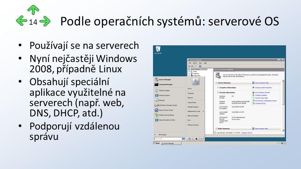 Podle operačních systémů: serverové OS Používají se na serverech Nyní nejčastěji Windows 2008, případně Linux Obsahují speciální aplikace využitelné na serverech (např.
