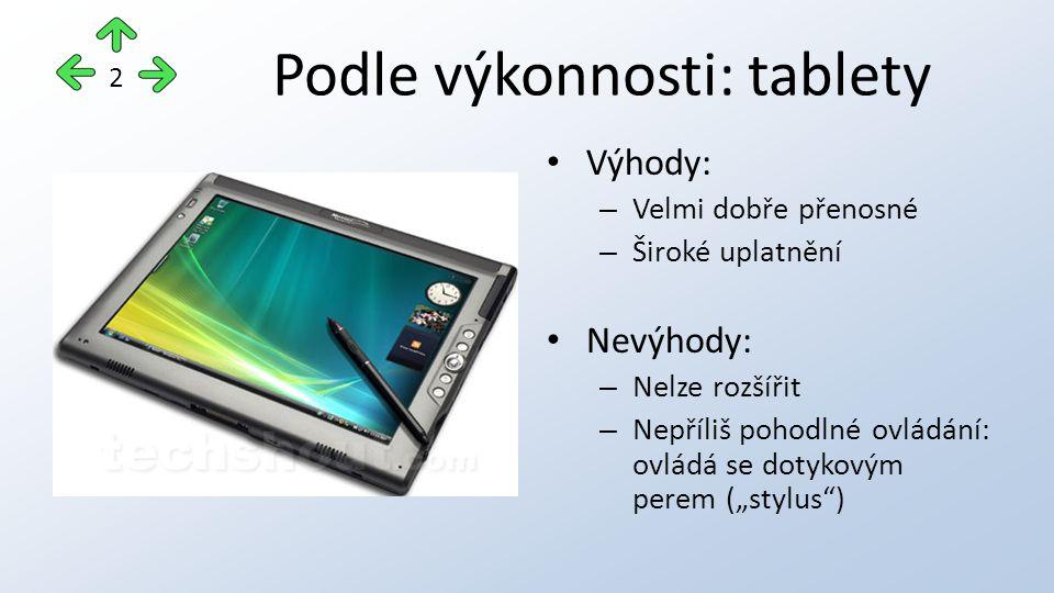 Podle výkonnosti: netbooky Výhody: – Běžný operační systém (Nejčastěji Windows) – Velmi dobře přenosné – Dlouhá výdrž baterie díky úsporným procesorům Nevýhody: – Příliš malé klávesy – Nemá DVD mechaniku 3