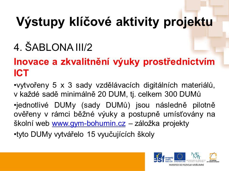 Výstupy klíčové aktivity projektu 4. ŠABLONA III/2 Inovace a zkvalitnění výuky prostřednictvím ICT vytvořeny 5 x 3 sady vzdělávacích digitálních mater