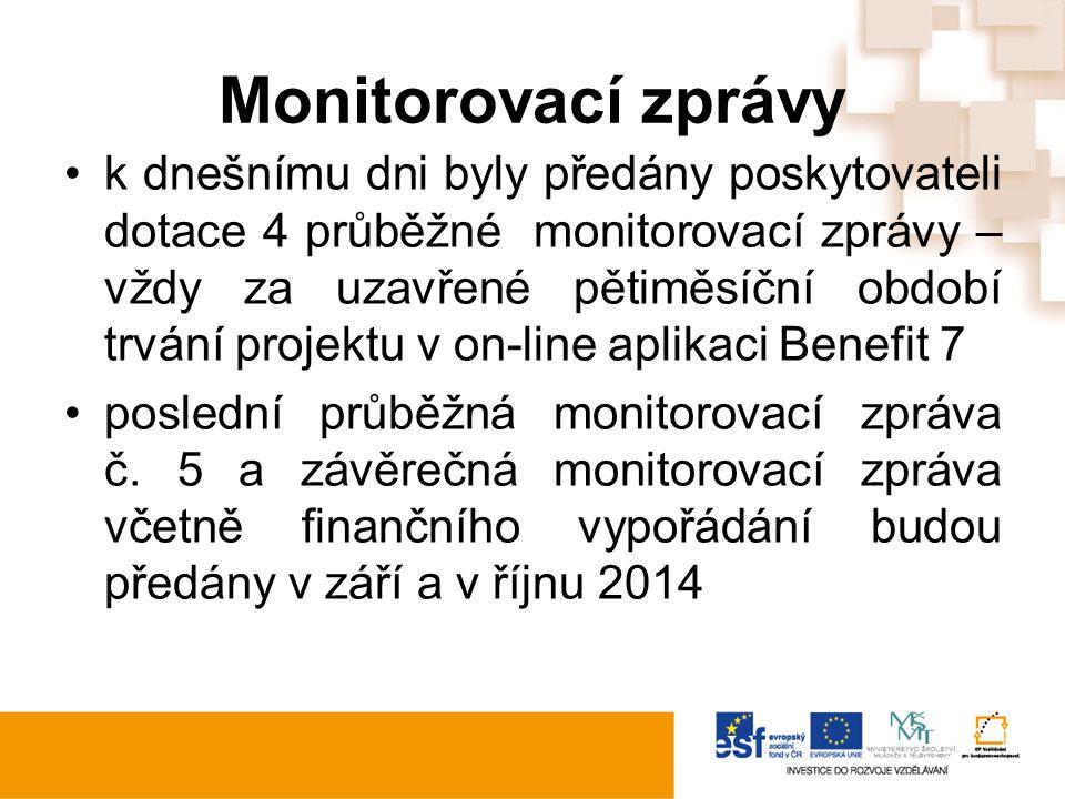 Monitorovací zprávy k dnešnímu dni byly předány poskytovateli dotace 4 průběžné monitorovací zprávy – vždy za uzavřené pětiměsíční období trvání proje