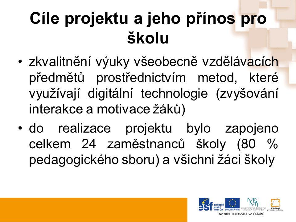 Cíle projektu a jeho přínos pro školu zkvalitnění výuky všeobecně vzdělávacích předmětů prostřednictvím metod, které využívají digitální technologie (