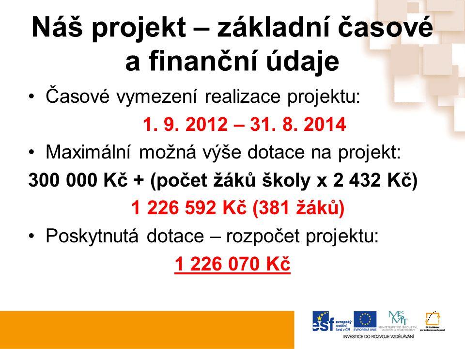Náš projekt – základní časové a finanční údaje Časové vymezení realizace projektu: 1. 9. 2012 – 31. 8. 2014 Maximální možná výše dotace na projekt: 30