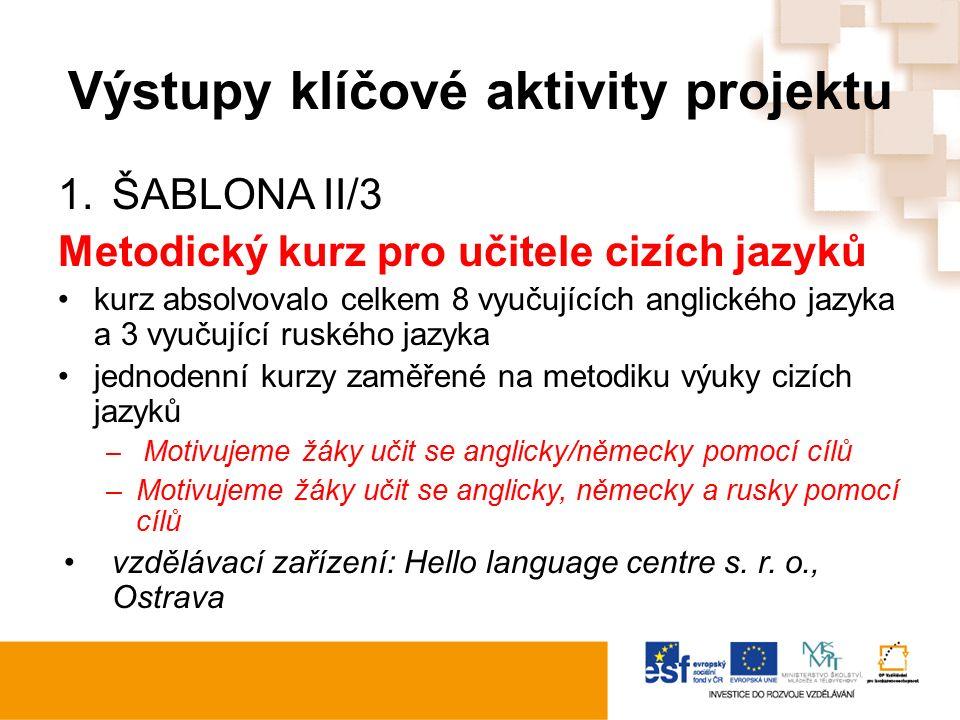 Výstupy klíčové aktivity projektu 1.ŠABLONA II/3 Metodický kurz pro učitele cizích jazyků kurz absolvovalo celkem 8 vyučujících anglického jazyka a 3